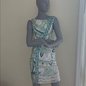 EMILIO PUCCI GREEN PRINT SLEEVELESS DRESS